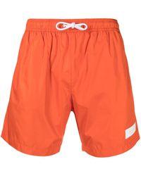 Dondup Short de bain à patch logo - Orange
