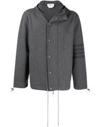 Thom Browne Куртка С Капюшоном И Полосками 4-bar - Серый
