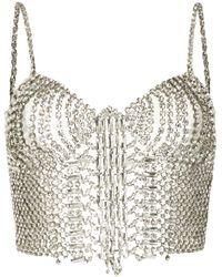 Ermanno Scervino Crystal-embellished Cropped Top - Metallic