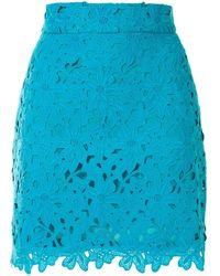 Bambah Lace Crochet Mini Skirt - Blue