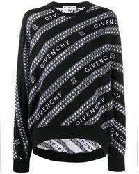 Givenchy ロゴ ストライプ セーター - ブラック