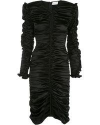 Magda Butrym Pula Cutout Ruched Silk-blend Satin Midi Dress - Black