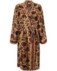 Mes Demoiselles - Floral Embroidered Belted Coat - Lyst