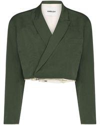 Ambush Cropped Wool Blazer - Green
