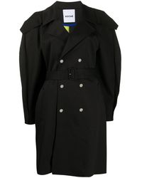 Koche Oversized Double-breasted Trench Coat - Black
