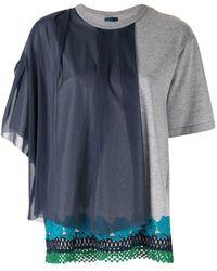 Kolor Camiseta con panel a capas - Gris