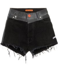 Heron Preston Shorts denim con vita a contrasto - Nero