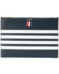 Thom Browne - Small Zipper Pebbled Leather Pouch - Lyst