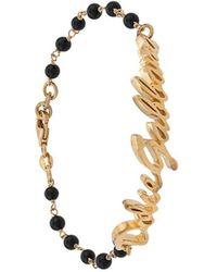 Dolce & Gabbana Logo Plaque Beaded Bracelet - Metallic