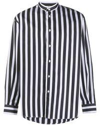Givenchy ストライプ マンダリンカラーシャツ - ブラック