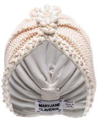MaryJane Claverol 'Guayana' Turban mit Perlen - Weiß