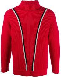Giorgio Armani 1990s V-stripe Sweater - Red