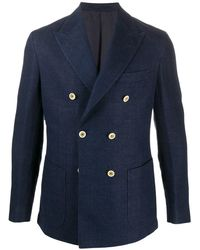 Eleventy Double-breasted Blazer - Blue