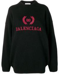 Balenciaga Logo Embroidered Sweater - Black