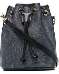 Etro ペイズリー レザーバケットバッグ - ブルー