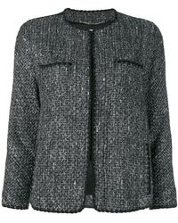 Blumarine - Faux Fur Cuff Bouclé Jacket - Lyst