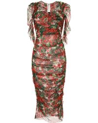 Dolce & Gabbana Jurk Met Portofino Print - Rood
