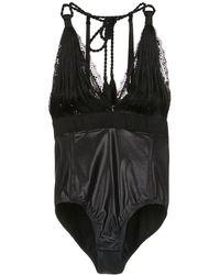 À La Garçonne Fringed Bodysuit - Black
