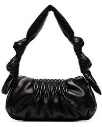 Miu Miu Matelassé Knotted Leather Shoulder Bag - Zwart