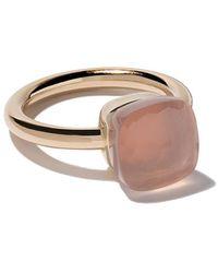 Pomellato 18 Kt Rose En Wit Goud Nudo Rose Quartz Ring - Roze