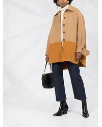 Chloé Двухцветное Однобортное Пальто - Коричневый