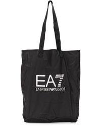 EA7 Logo Shopping Bag - Black