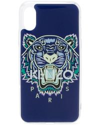 KENZO Iphone X/xs Hoesje Met Tijgerprint - Blauw