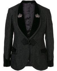 Dolce & Gabbana Traje floral en jacquard con un solo botón - Negro