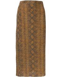 3ef36ba6b Falda con estampado de piel de serpiente - Marrón
