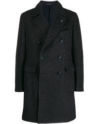 Tagliatore Twill Double-breasted Coat - Blue
