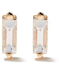 Suzanne Kalan 18kt Rose Gold Diamond Baguette Post Earrings - Metallic