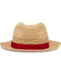 Prada Raffia Hat With Ribbon - Red