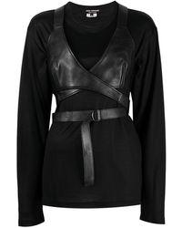 Junya Watanabe Camiseta con diseño cruzado - Negro