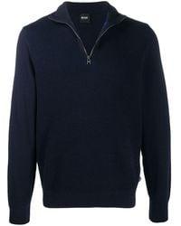 BOSS by Hugo Boss 3/4 Zip Virgin Wool Sweater - Blue