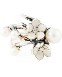 Shaun Leane - Sterling Silver Cherry Blossom Diamond And Pearl Flower Ring - Lyst