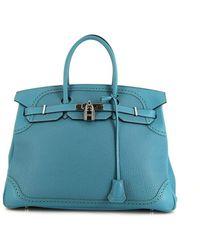 Hermès 2014 プレオウンド バーキン ギリーズ 35 ハンドバッグ - ブルー