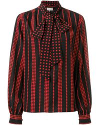 Saint Laurent - Stars And Stripes Printed Blouse - Lyst