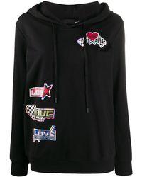 Love Moschino Sudadera con capucha y parche del logo - Negro