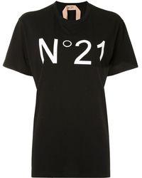 N°21 Oversized Logo Print T-shirt - Black