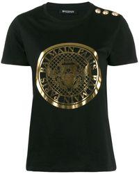Balmain メタリックロゴ Tシャツ - ブラック