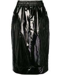 Kwaidan Editions Falda midi con efecto barnizado - Negro