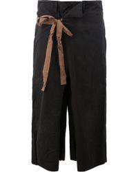 Ziggy Chen Waist-tie Cropped Pants - Black