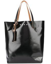 Marni Camo Cell Print Coated Shopping Bag - Green