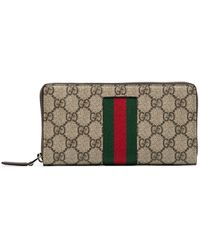 Gucci Beige Web GG Supreme Zip Around Wallet - Multicolour