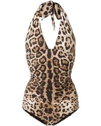 Dolce & Gabbana Wendbarer Badeanzug mit Leo-Print - Braun