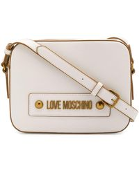 Love Moschino Logo Plaque Adjustable Strap Satchel Bag - White