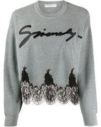 Givenchy Jersey corto con encaje - Gris