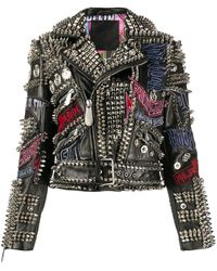 Philipp Plein Leather Spiked Biker Jacket - Black