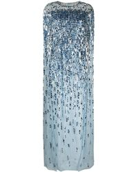 Jenny Packham Robe Mercedes à sequins - Bleu