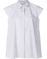 Aspesi | Striped Cap Sleeve Swing Shirt | Lyst